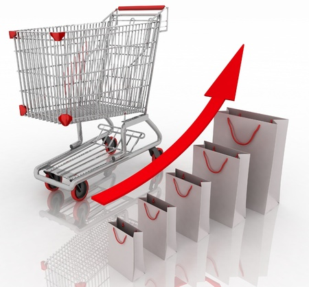 product cart: Sales growth chart  Presenting a getting better economy and increase of business income from the sale of commodities and services