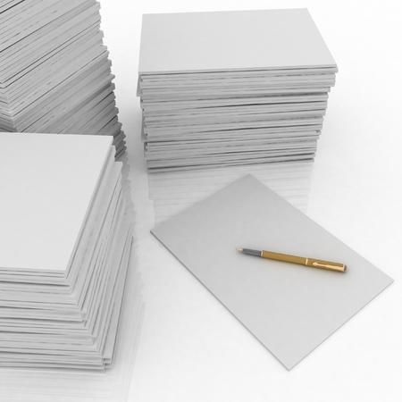 紙とペン白い背景の上の大きい山