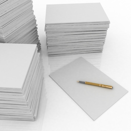 big pile of paper and pen on white background Archivio Fotografico