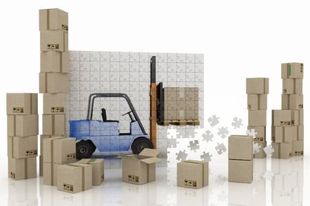 service lift: image of loader on a plane from puzzle with cargo boxes on a white background