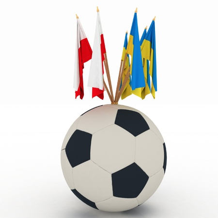 Flags of Poland and Ukraine - countries of 2012 football championship with soccer ball on white background. photo