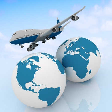 airliner with two globe in the sky background photo