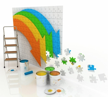 stepladder: picture with paints and step-ladder on a white background Stock Photo
