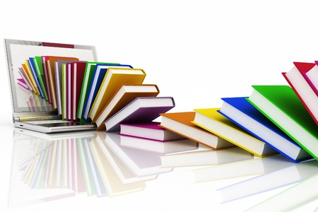 books from  your laptop on a white background photo