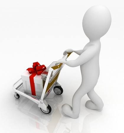 3d man rolls  a light cart with gifts photo