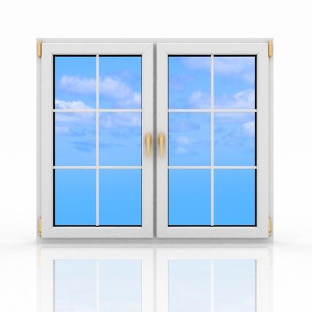 白い背景の上の 3 d の閉じたプラスチック製の窓