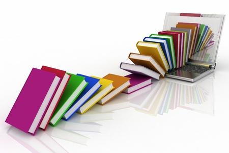 livres à partir de votre ordinateur portable sur un fond blanc