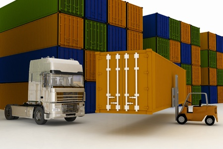 closed  containers, kept on a freight terminal Stock Photo - 14343868