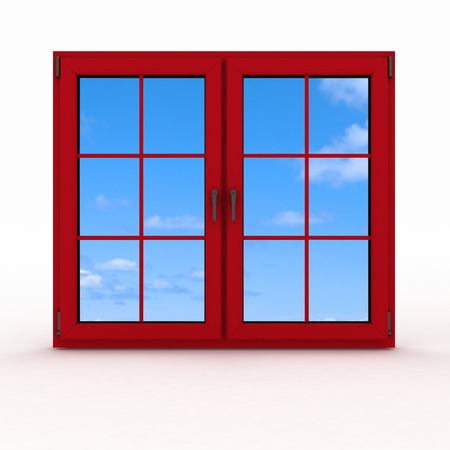 3d closed plastic window on white background Stock Photo - 14343941