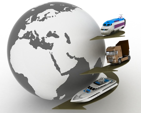 types of transport and globe. conception of transport transportations photo