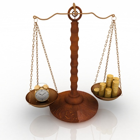 concept time is money, clock and money on scales. 3d  illustration illustration