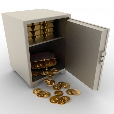 open safe with  gold bullions and purse with dollars on white background photo