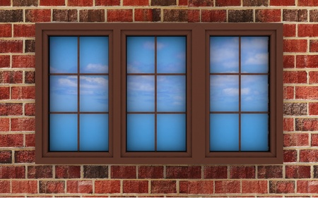 3d the illuminated plastic window on a brick wall photo