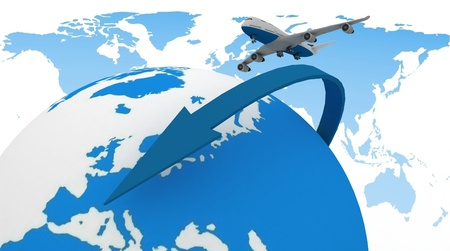 3d passenger jet airplane travels around the world photo