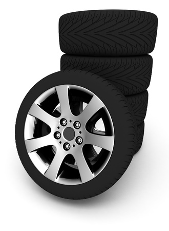car wheels on white background photo