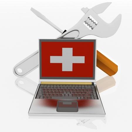 especialistas: ordenadores port�tiles de diagn�stico. 3d ilustraci�n Foto de archivo