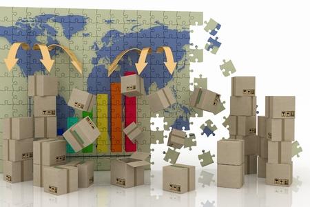 世界貿易の概念。ロジスティックの 3 d コンセプト。 写真素材