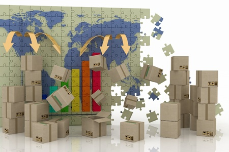 packing boxes: conception of world trade. 3d concept of logistic.