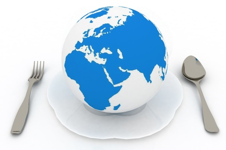 global health: globe and flatwares on a white background Stock Photo