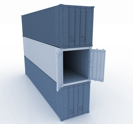 3d illustration of cargo containers illustration