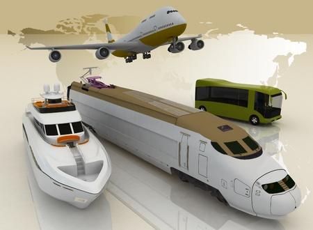 voyage: concept of transport for trips. 3d render illustration