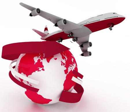 plane landing: passenger jet airplane travels around the world