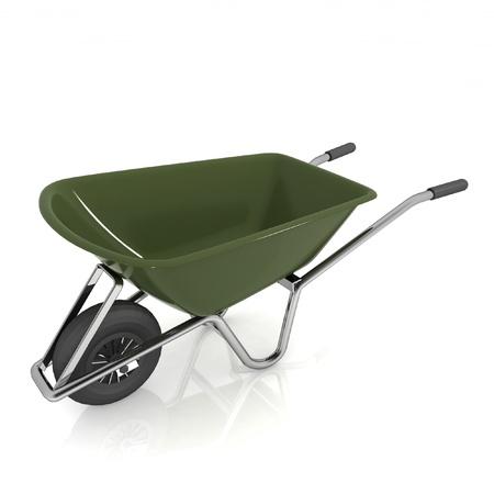 Garden wheelbarrow isolated on white photo