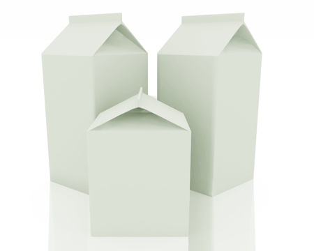 Clear milk package models on white photo