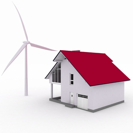 Eco casa con turbina de viento, el medio ambiente photo