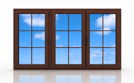 3d closed plastic window on white background Stock Photo - 14554474