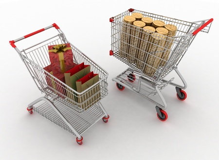 concept of purchase of commodities for money  Shopping cart with boxes and dollars   photo