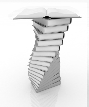 stacks of books and open book Stock Photo - 14554440