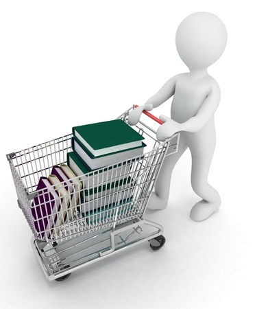 man drives the complete cart of supermarket  books. 3d illustration on a white background.   illustration