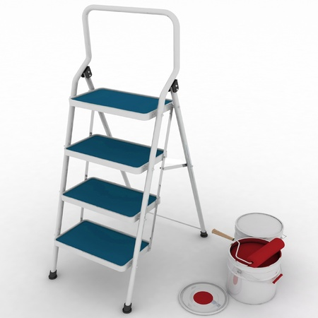 stepladder with jars from under a red paint on a white background photo