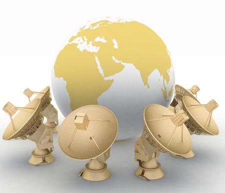 3d illustration of earth globe with radio aerials illustration