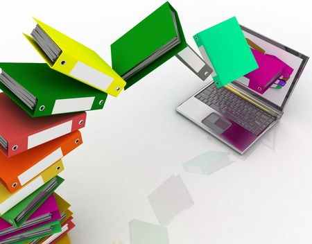 archives: Colorful folders fly into your laptop Stock Photo