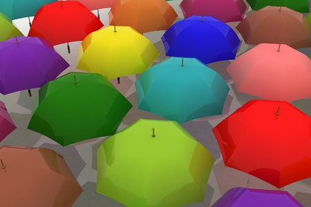 many multicoloured umbrellas photo