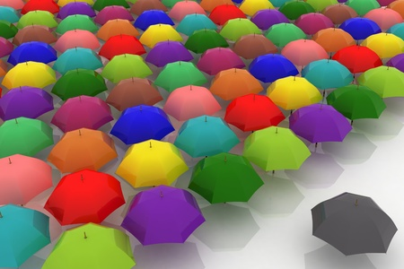 many multicoloured umbrellas are against one dark photo