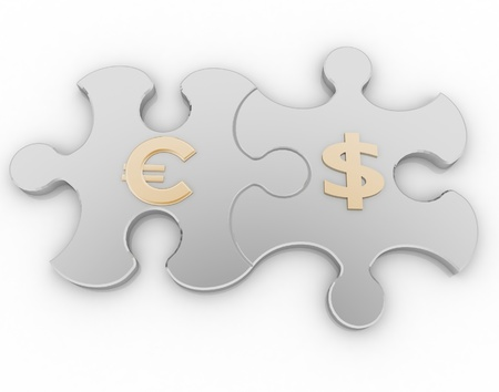 two puzzle with the symbols of euro and dollar on a white background photo