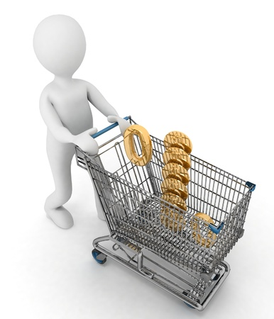 inwardly: person rolls the shopping cart with sign of percentage inwardly