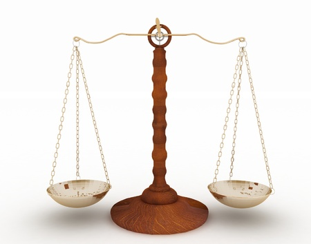 tribunal: classic scales of justice on white background Stock Photo
