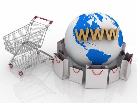 dispense: Compras 3d en la Tierra en Internet Foto de archivo