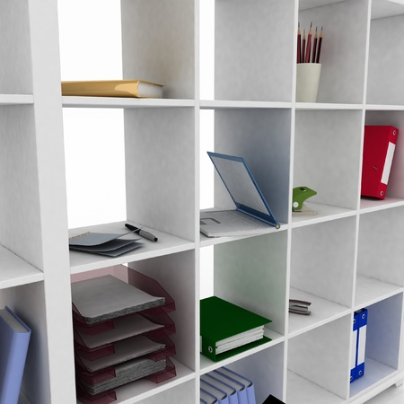 3d book shelf with instruments for office photo