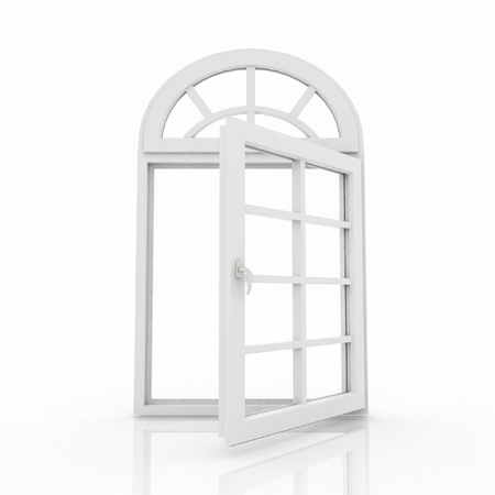 3d opened plastic window on white background photo