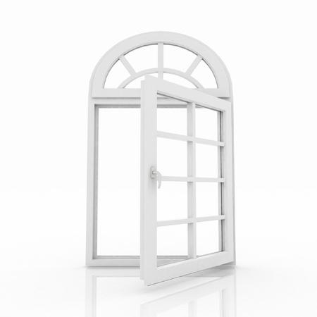 ventana abierta interior: 3d ventana abierta de pl�stico sobre fondo blanco