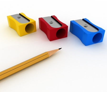 pencils sharpeners and pencil on white background photo