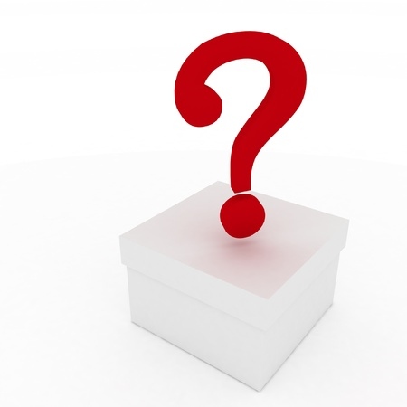 closed box with question mark. 3d illustration isolated on white background. illustration