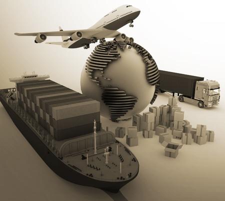 commerce: des moyens de transport transportant des charges.
