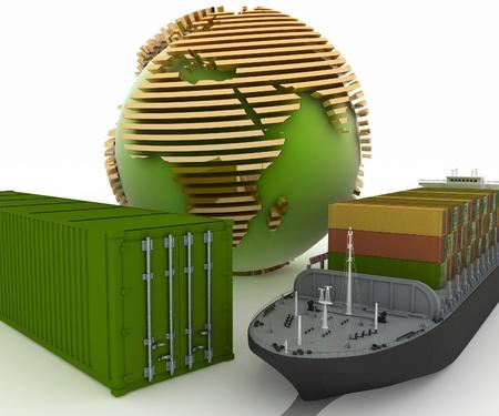 shipload: Concepci�n de la entrega de las cargas comerciales de un transporte mar�timo. Ilustraci�n 3d.