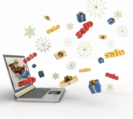 online trading: Concept of Christmas online shopping  3d illustration  Stock Photo